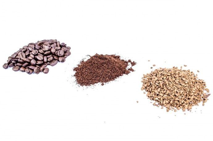 кофе в зернах, молотый, растворимый