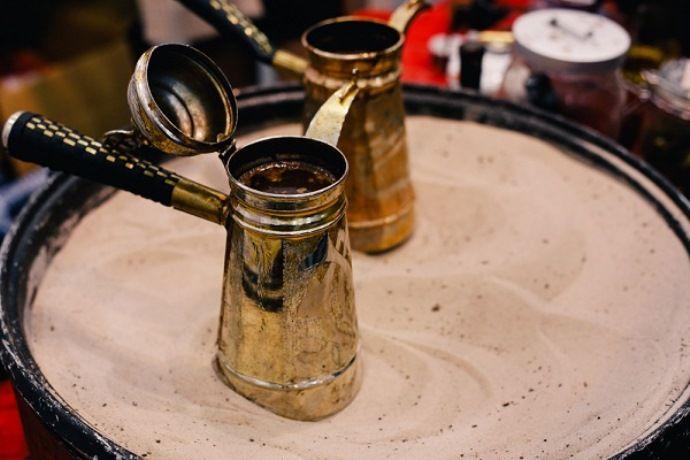 кофе в джезве на песке