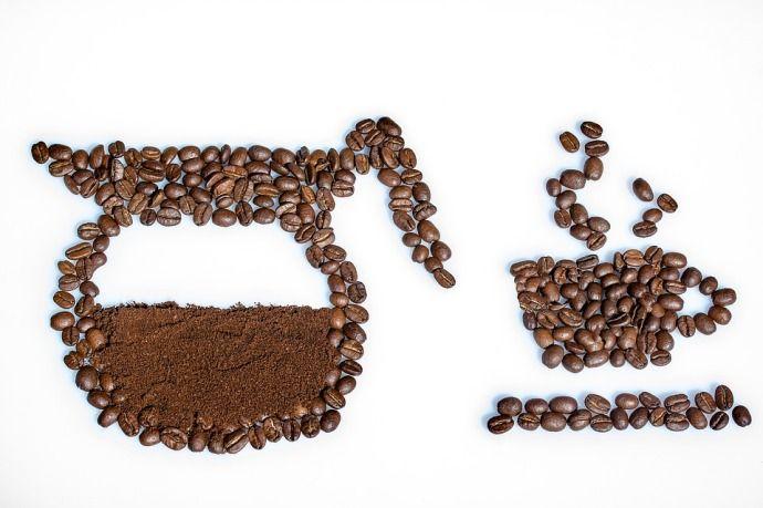 аппликация из кофейных зерен