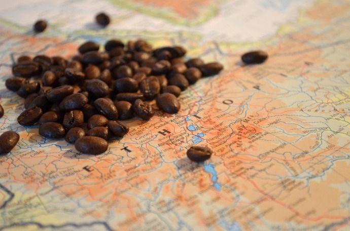 карта эфиопии зерна кофе