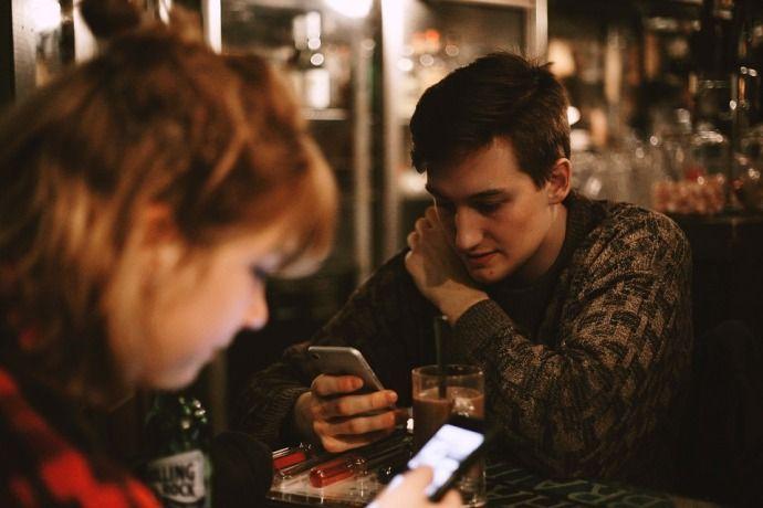парень, девушка, кофе, телефон