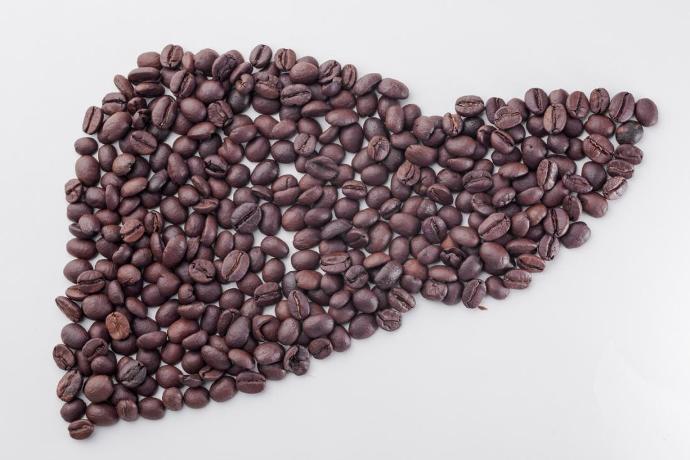 контур печени из кофейных зерен