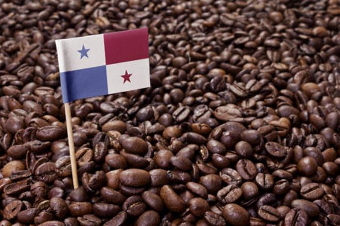 панамский флаг на фоне кофейных зерен